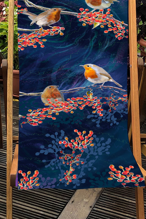 Deckchair - Garden Birds - Robin illustration- 100% Polyester Canvas Sling