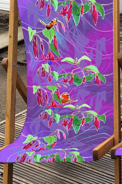 Christine's Garden Fuchsias Deckchair 1- 100% Polyester Canvas Sling
