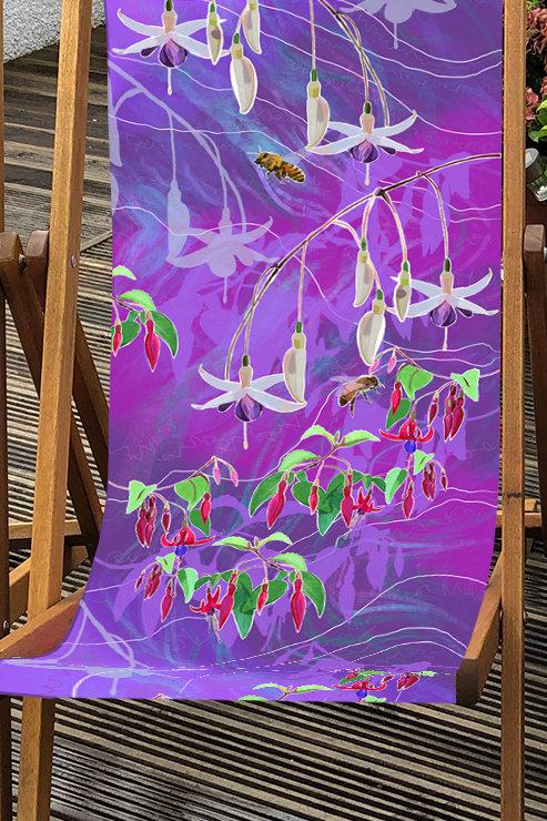 Christine's Garden Fuchsias Deckchair 2- 100% Polyester Canvas Sling