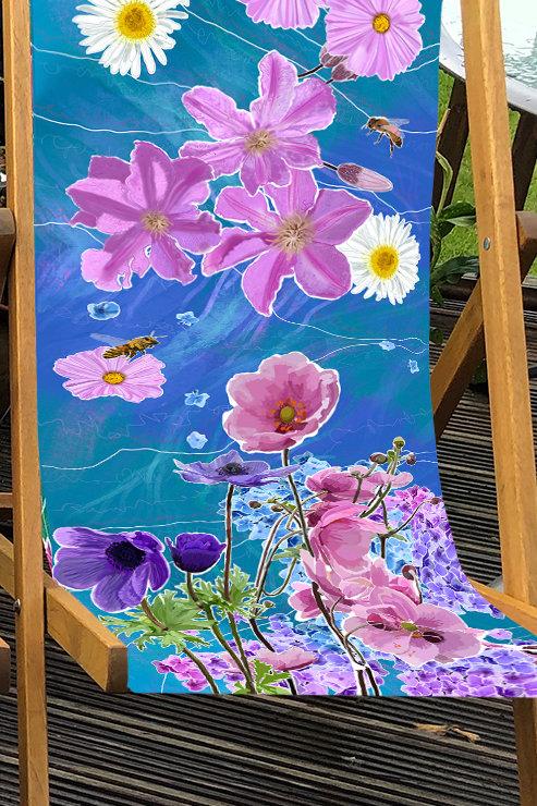 Deckchair Beth's Garden 4 - 100% Polyester Canvas Sling