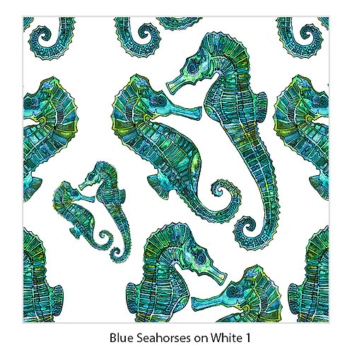 Seahorses on White Upholstery Panel