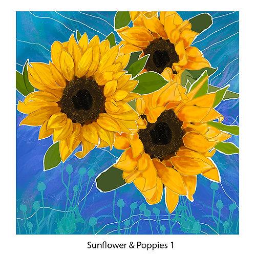 Sunflower & Poppies Upholstery Panels