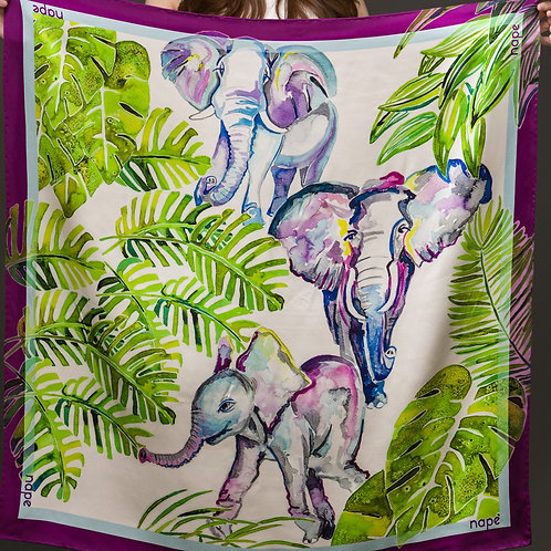 Jungle Elephants 90x90cm