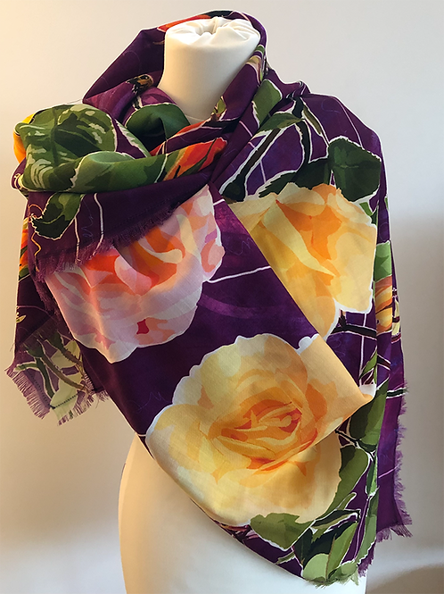 Shirley's Garden Mixed Roses 100% Wool Twill Magenta Scarf