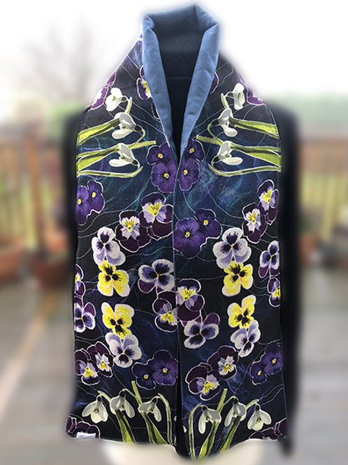 Snowdrops and Pansies Wool Crepe lined with faux suede