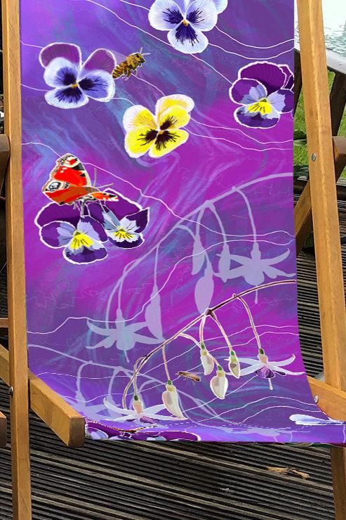 Deckchair Christine's Garden Fuchsias & Pansies 4 - 100% Polyester Canvas Sling