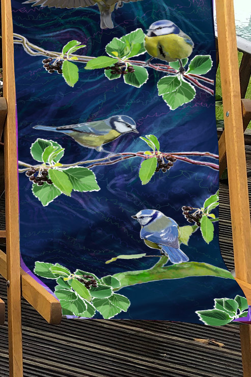 Deckchair Garden Birds - Blue Tits illustration- 100% Polyester Canvas Sling