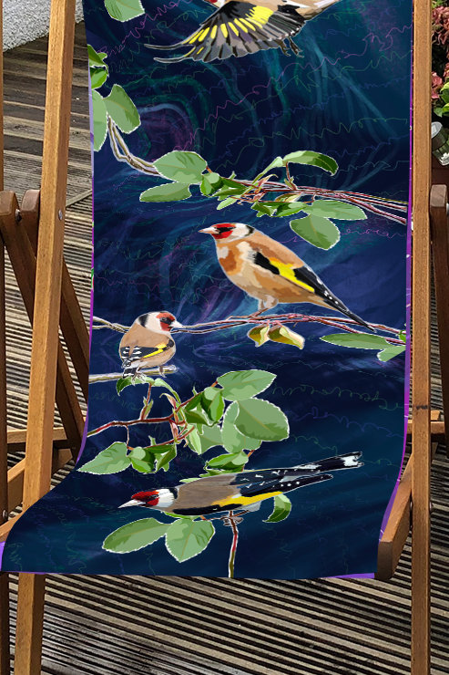 Deckchair - Garden Birds - Goldfinch illustration 100% Polyester Canvas Sling