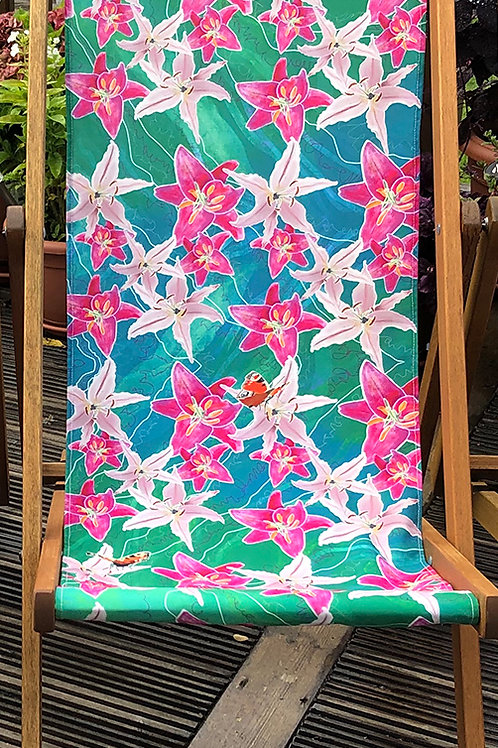 Deckchair Lena's Lilies Series 3- 100% Polyester Canvas Sling