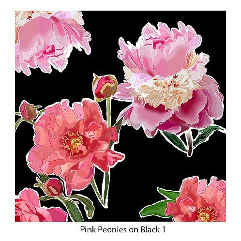 Pink Peonies on Black Upholstery Panels