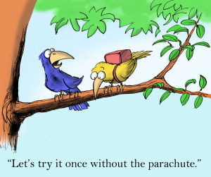 Square cartoon Try Once without parachute shutterstock_118312087