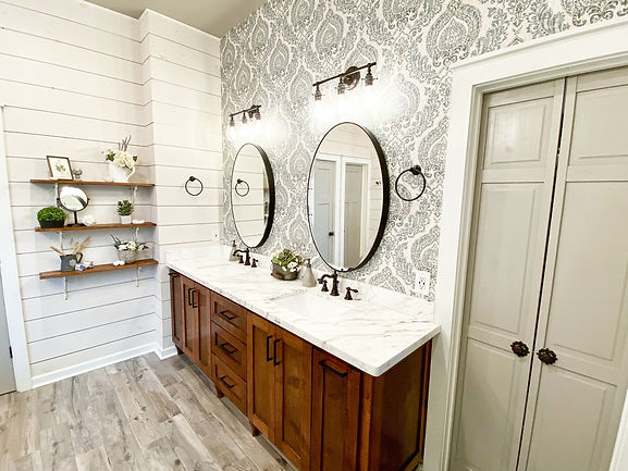Farmhouse Bathroom with Wallpaper