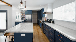Farmhouse Kitchen with Navy Blue Cabinets