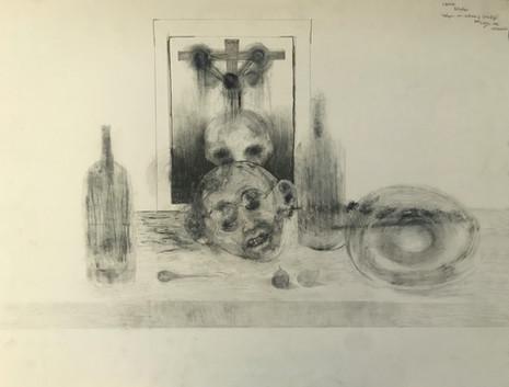 Bodegón con cabeza y crucifijo. 1993