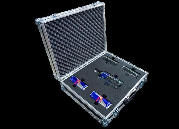 GT-Case Funkoffer Spirituosenkoffer für Absolut+ 2 Gläser + 2 Dosen Energy