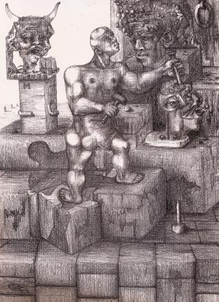 Escultor en su estudio. 1996