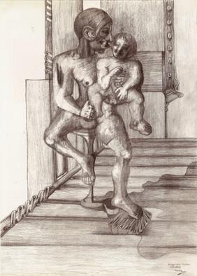 Mujer con niño. 2000