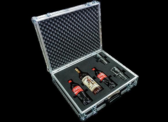 GT-Case Funkoffer Spirituosenkoffer für Captain Morgan + 2 Gläser + 2 Cola