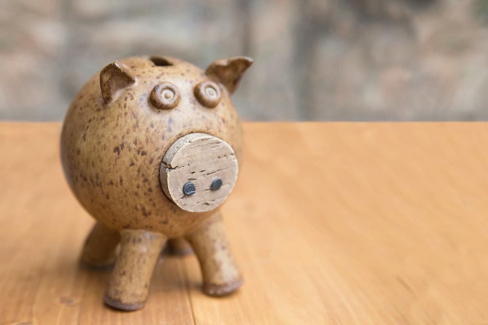 Photograph of a piggy bank