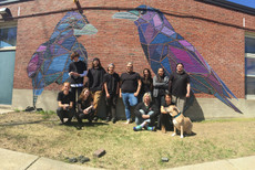 Group project btvcrowcollective, working with artist Mary Lacy, image shows 1 of 3 murals, 2016