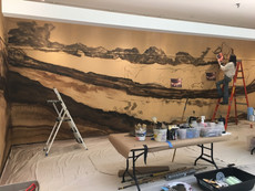 Group mural for Fletcher Free Library, Smithsonian Exhibit, cave painting, apx. 30ft.w x 10ft.h, 2015