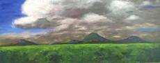 "En plein air class, Acrylic on canvas, apx. 48""w x 30""h, 2016"