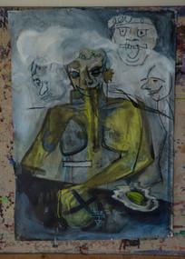 "Acrylic, Oil Pastel on canvas, 40""w x 55""h"