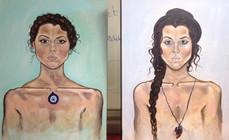 "Self-Portrait, oil on canvas, apx. 18""w x 24""h each, 2015"