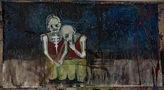 "Acrylic, Oil Pastel on canvas, 80""w x 40""h"