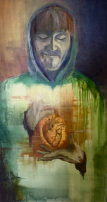 "Self-Portrait, Oil on canvas, 30""w x 60""h, 2015"