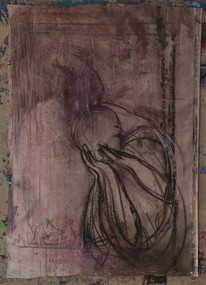 "Acrylic, Oil Pastel on canvas, 40""w x 50""h"
