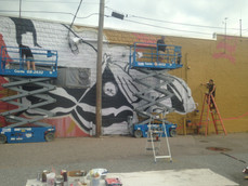 Group mural project for Pine Street, 10 students, wall apx. 25ft.h x 80ft.w