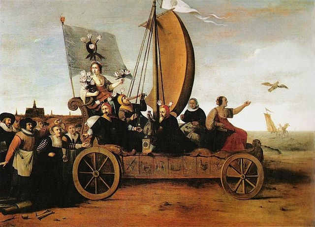 "Hendrik Gerritsz Pot's painting ""Ship of Fools"" poked fun at ""Tulipmania"""