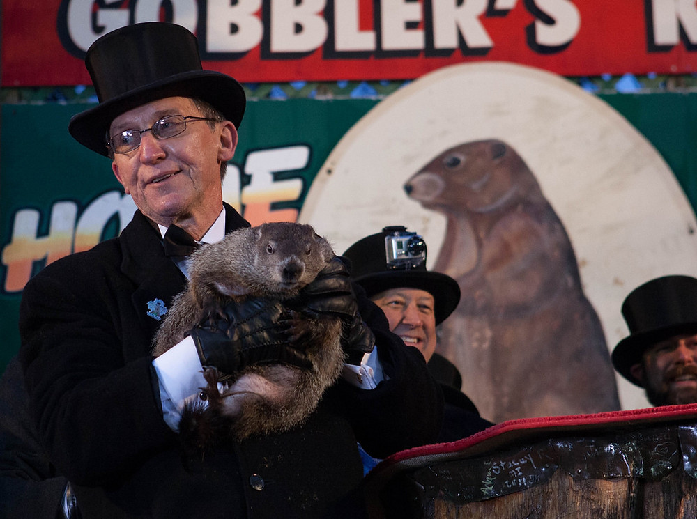 Punxsutawney Phil with members of his Inner Circle