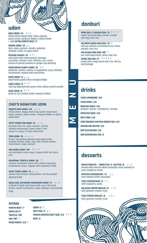sample menu list of main entrees
