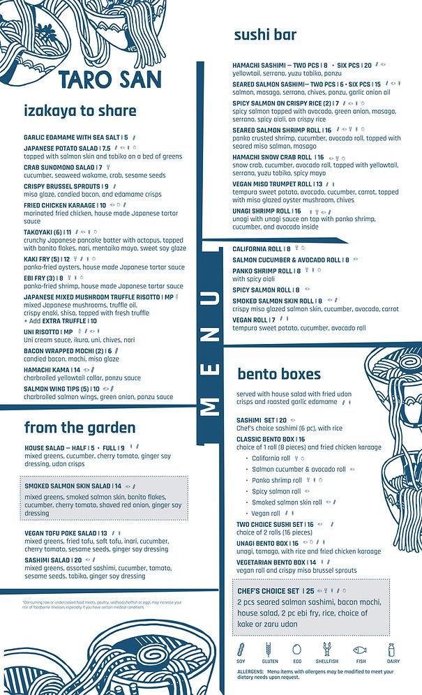 sample izakaya menu
