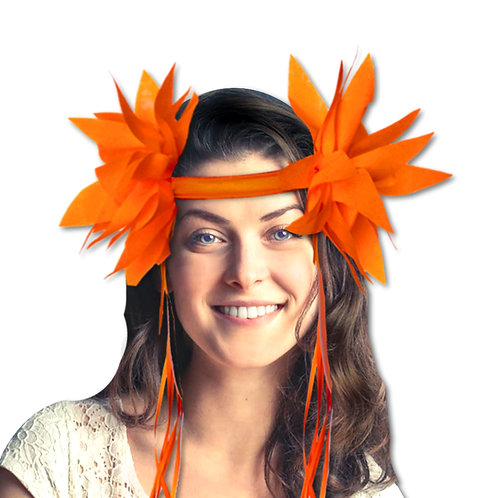 tiara flores tropicales con cintas