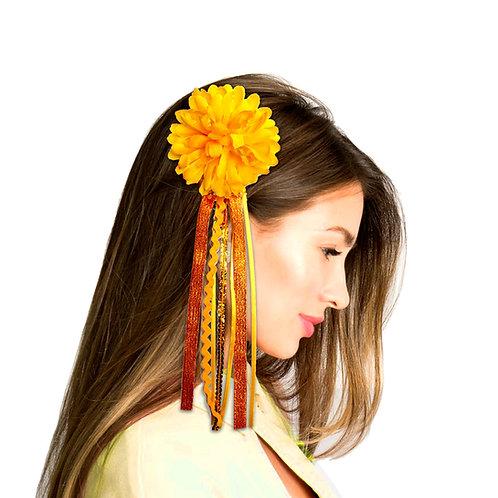 broche cabello flor con cintas