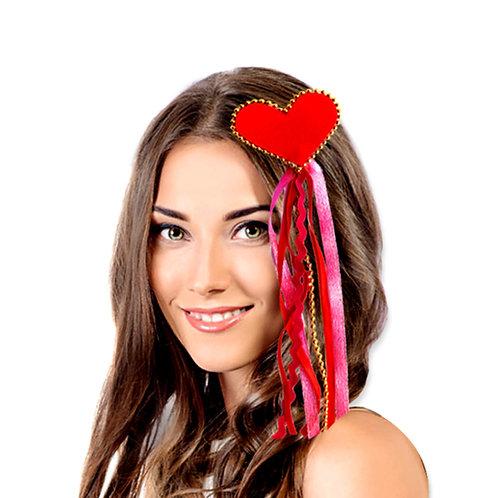 broche cabello corazón con cintas