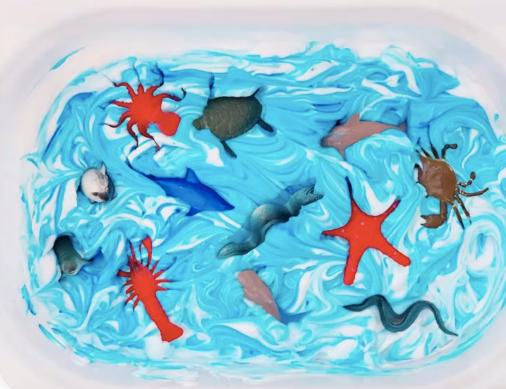 Frozen Shaving Cream Sensory Play: