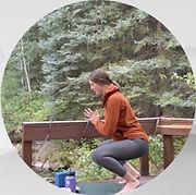 Yoga squat outdoors
