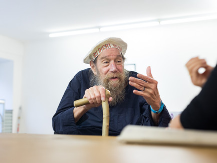 Lawrence Weiner at the interview.