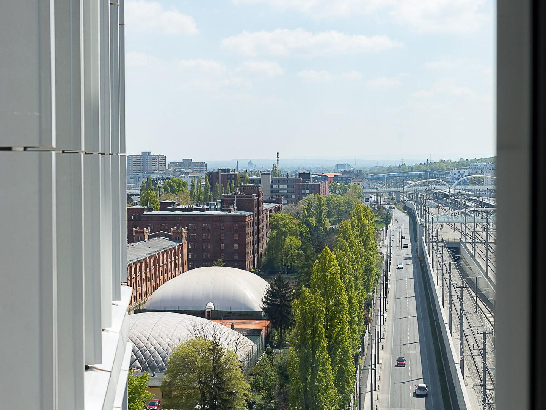 Aussicht aus der Musterwohnung , Viertel Hauptbahnhof .