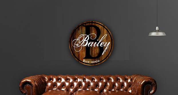Custom Monogrammed Circle Wood Board Sign