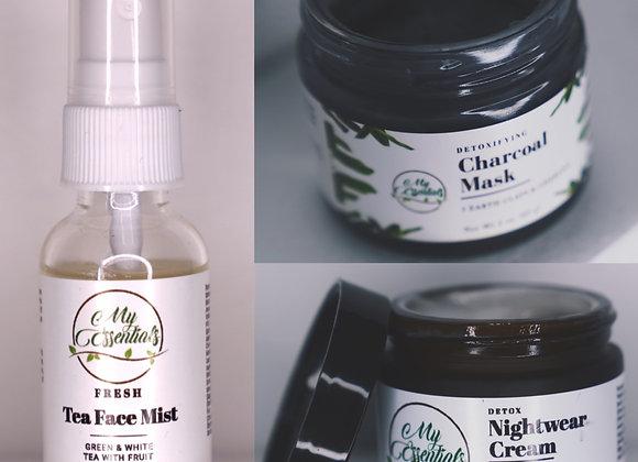 Detoxifying Charcoal Mask Set (Night Cream & Tea Mist)