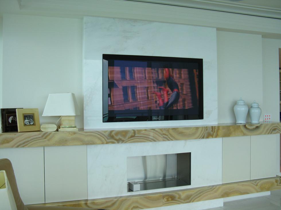 Flush Mount TV Inside Stone Wall-Bal Har