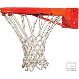 Orange basketball rim with white net