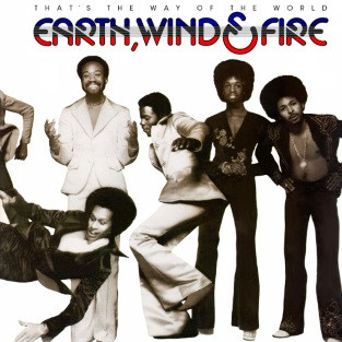 album cover with image of members of the Earth, Wind & Fire band with the band's name and album name at top of album cover