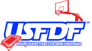 red mini trampoline with blue USFDF in outline and red basketball hoop with united states freestyle dunk federation spelled out underneath