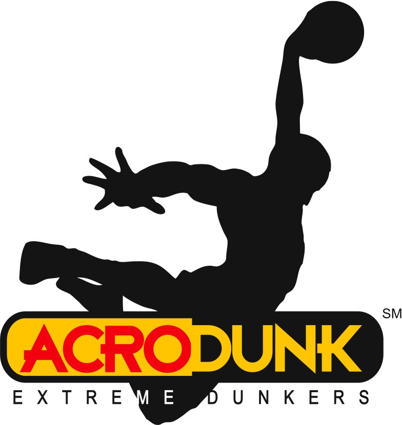 black on white silhouette of guy mid air with arched back and  basketball in hand as if dunking, ACRO in red against a yellow-gold back ground with DUNK in yellow-gold on black background to the right and EXTREME DUNKERS written underneath the oval that holds ACRO DUNK
